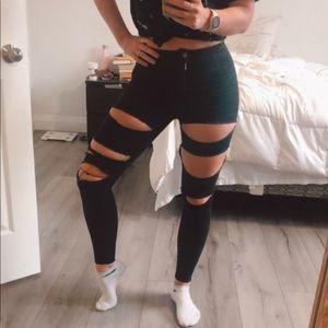 High Rise Joni Topshop Distressed Black Jeans